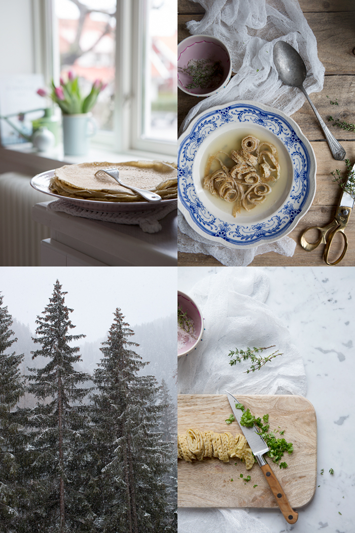 Homemade vegetable broth with buckwheat pancakes :: Photographed and styled by Sonja Dahlgren