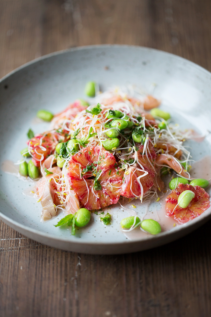 Blood orange, smoked salmon and edamame salad with mint dressing :: Sonja Dahlgren/Dagmar's Kitchen