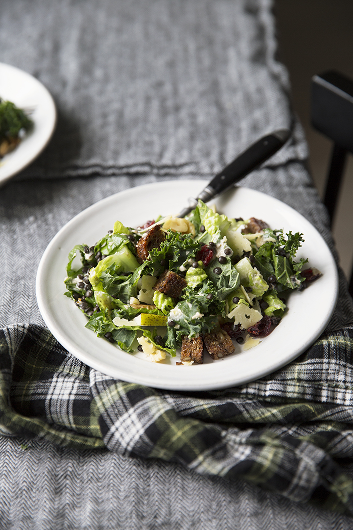 Sonja Dahlgren/Dagmar's Kitchen :: A rustic Caesar salad with tahini dressing, rye bread croutons and Västerbottensost