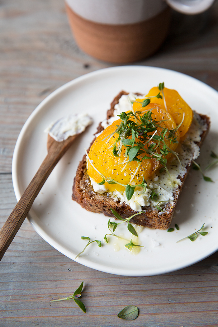 A simple rye bread sandwich with marinated goat cheese and golden beets :: Sonja Dahlgren/Dagmar's Kitchen