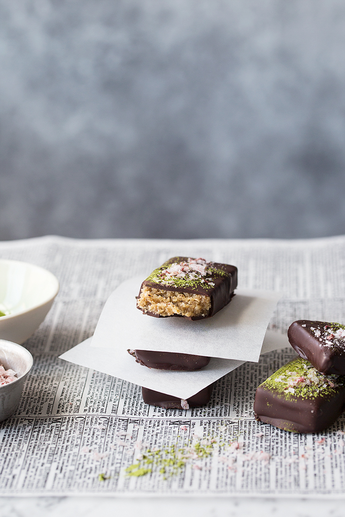 Walnut Miso Bars with Rhubarb Salt and Matcha :: Sonja Dahlgren/Dagmar's Kitchen