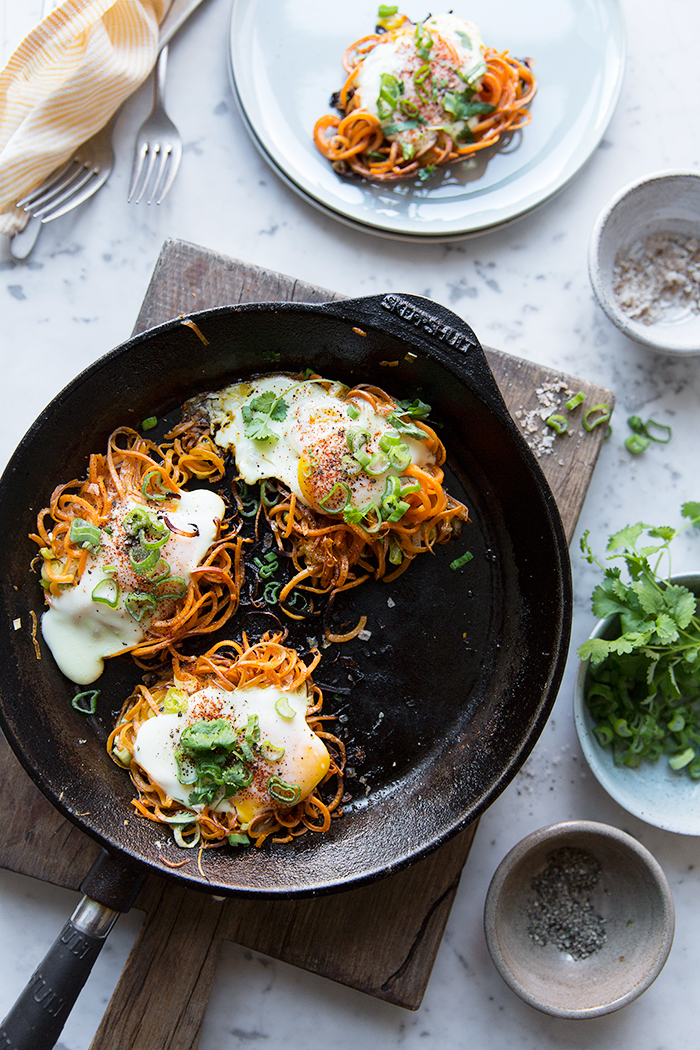 Spiralized Sweet Potato Egg Nests :: Sonja Dahlgren/Dagmar's Kitchen